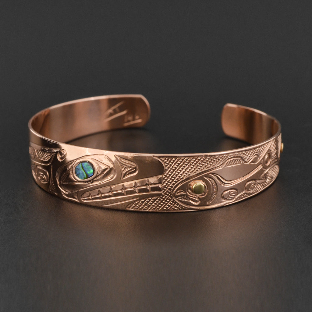 Killerwhale and Salmon - 14k Rose Gold Bracelet