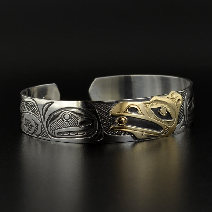 Raven and the Light - Silver Bracelet with 14k Gold
