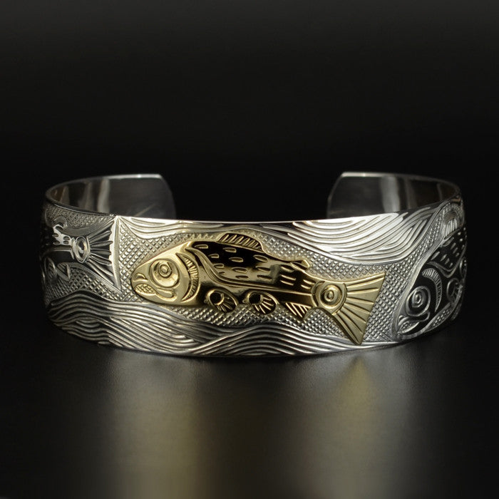 Salmon - Silver Bracelet with 14k Gold Overlay