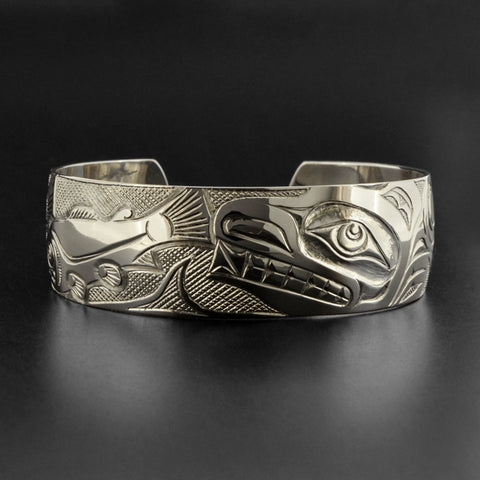 Bear and Salmon - Silver Bracelet