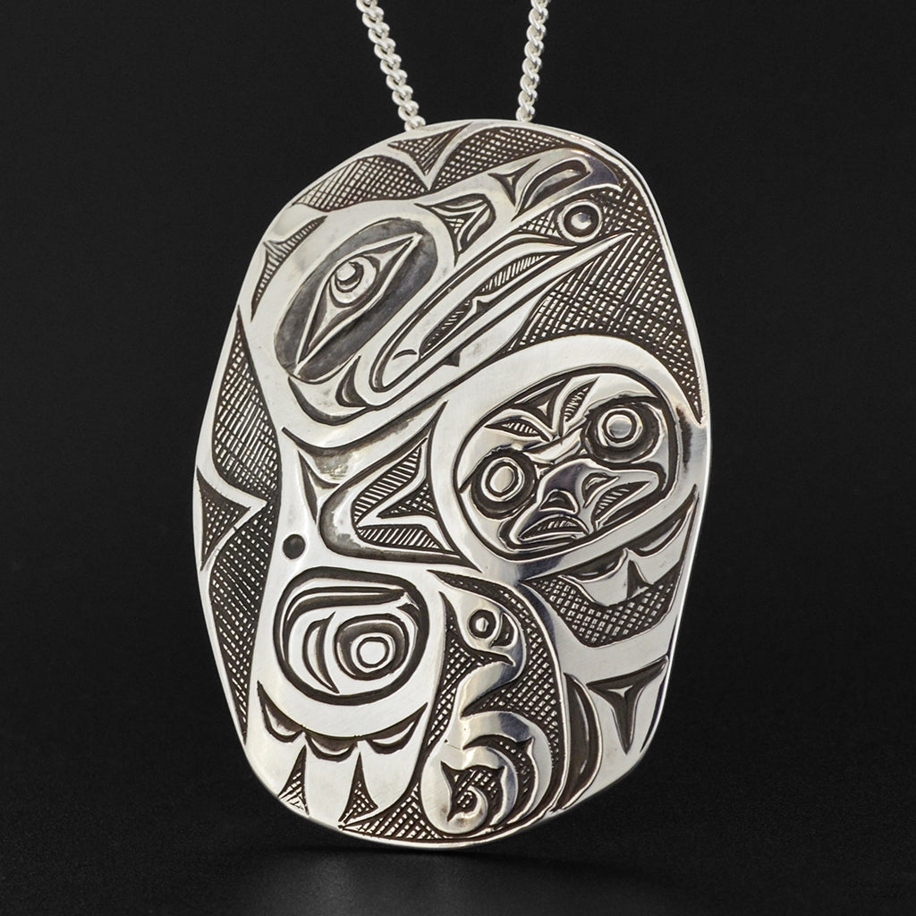Raven and Light - Silver Pendant