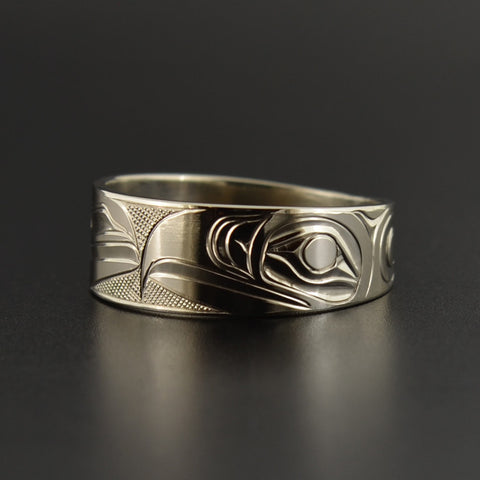 Raven and Eagle - 14k White Gold Ring