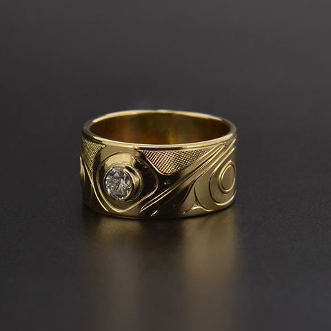 Hummingbird - 14k Gold Ring with Diamond