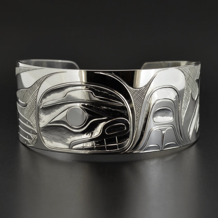 Killerwhale and Human - Silver Bracelet