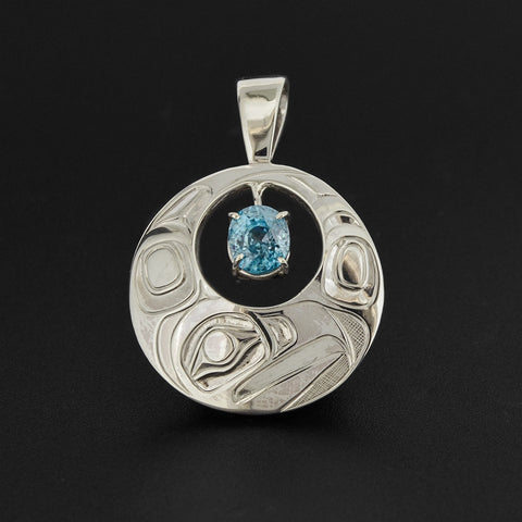 Eagle - Silver Pendant with Cambodian Blue Zircon