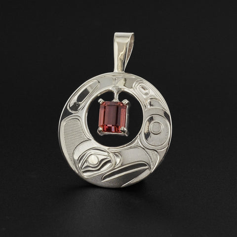 Eagle - Silver Pendant with Pink Tourmaline