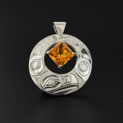 Eagle - Silver Pendant with Citrine