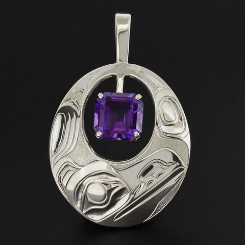 Raven - Silver Pendant with Amethyst