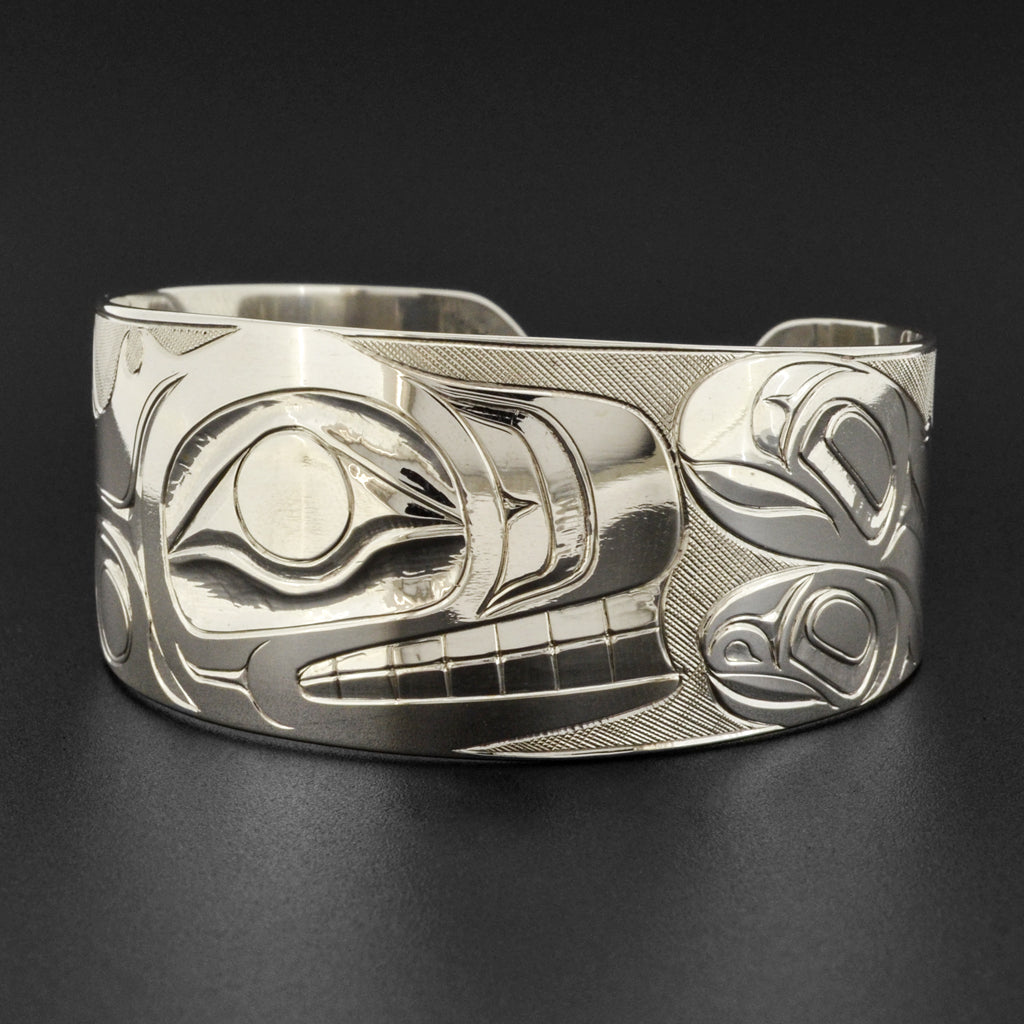 Killerwhale and Salmon - Silver Bracelet