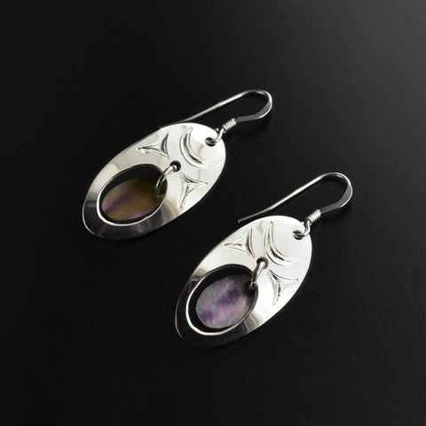 Abstract - Silver Earrings with Abalone