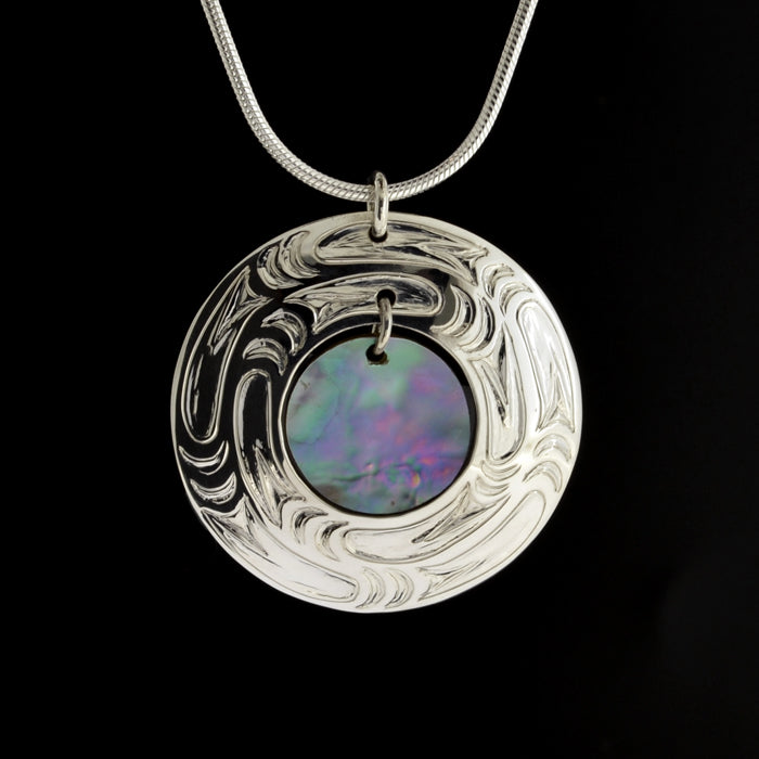 Abstract - Silver Pendant with Abalone