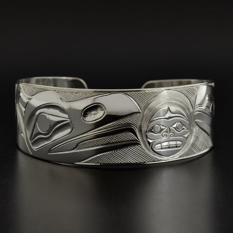 Ravens and the Moon - Silver Bracelet