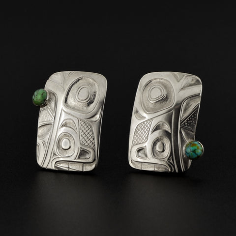 Breaking Waves - Silver Stud Earrings with Turquoise