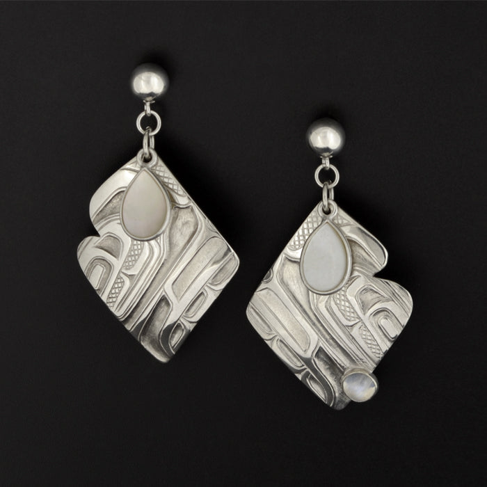 Cloud - Silver Earrings with Mother of Pearl and Moonstone