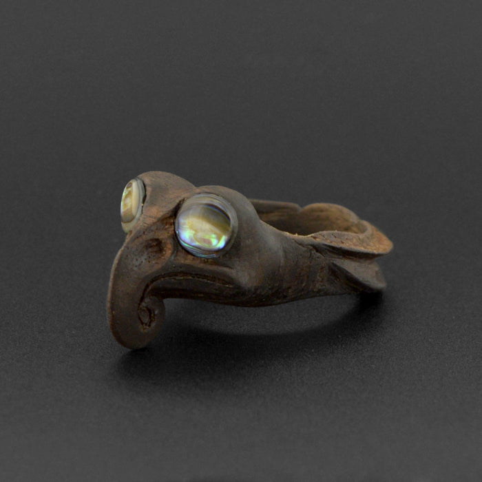 Dragonfly - Teak Ring with Abalone