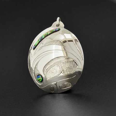 Abstract Killerwhale - Silver Pendant with Abalone