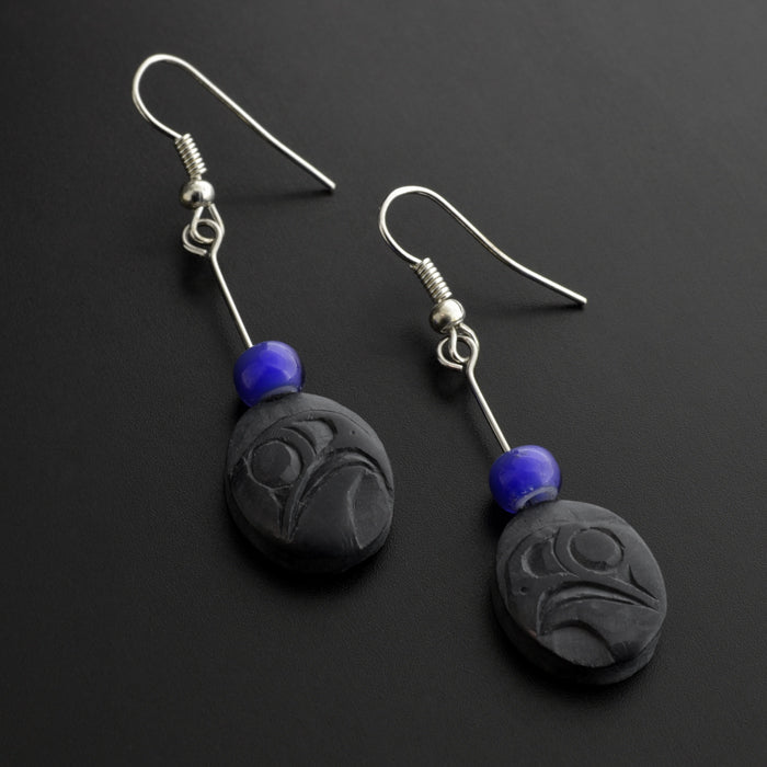 Eagles - Argillite Earrings with Trade Beads