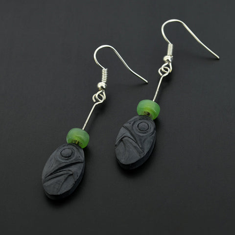 Frogs - Argillite Earrings with Trade Beads