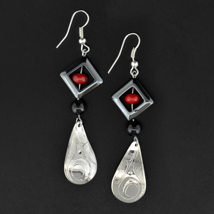 Hummingbird - Silver Earrings with Hematite, Onyx and Carnelian