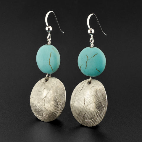 Abstract - Silver Earrings with Turquoise