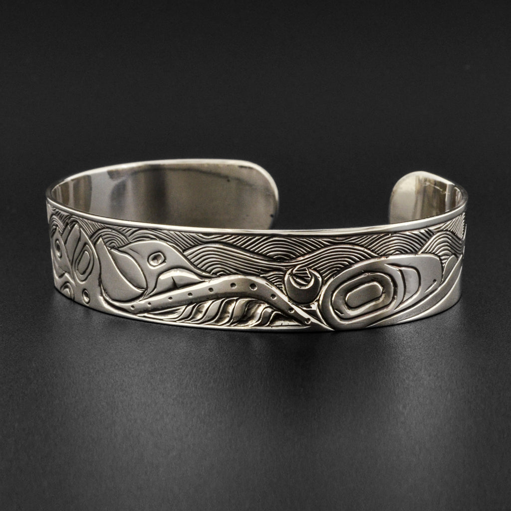 Orca and Waves - Silver Bracelet