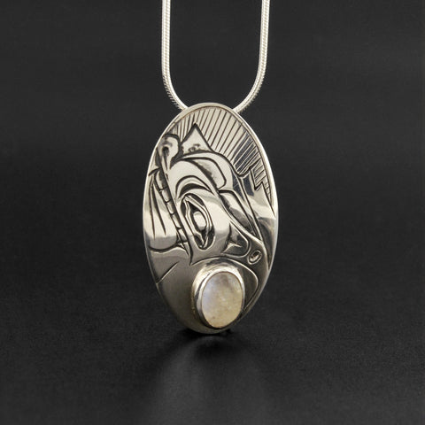 Wolf - Silver Pendant with Moonstone