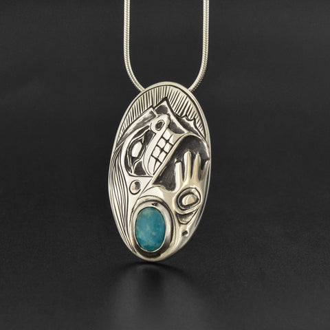 Human - Silver Pendant with Turquoise