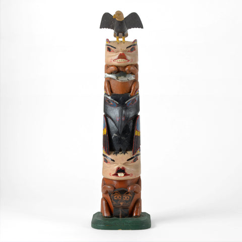 Eagle, Bear, Raven and Beaver - Red Cedar Model Totem Pole