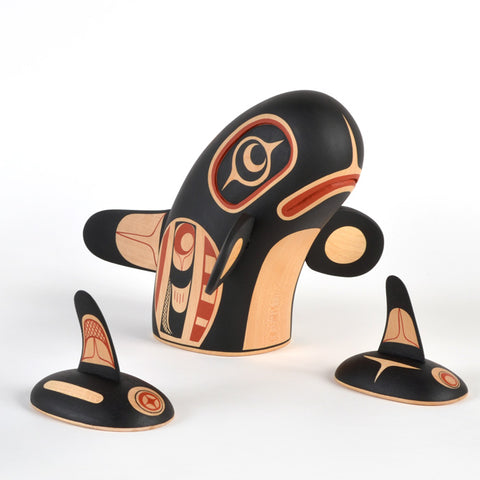 Mother Orca with Calves - Basswood Sculpture