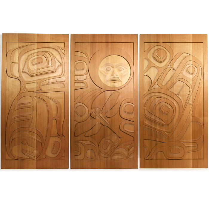 Bear, Frog, Moon - Red Cedar Panels