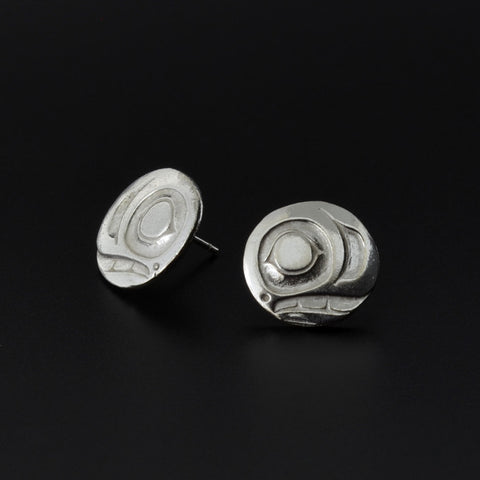 Salmon-Trouthead - Silver Stud Earrings