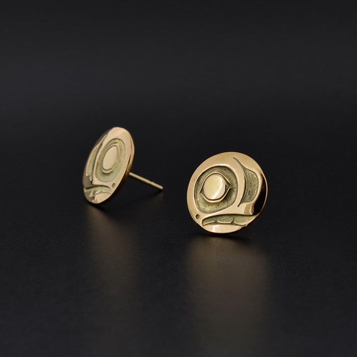 Salmon - 14k Gold Stud Earrings