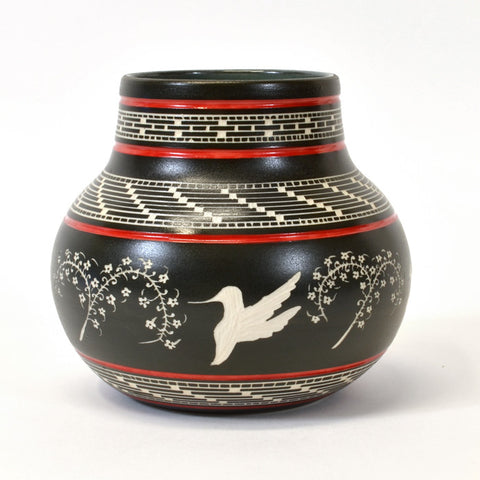 Hummingbirds - Hand Carved Ceramic Vase