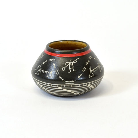 Salmon Hunt - Hand Carved Ceramic Vase