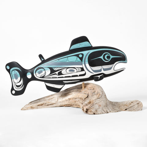Salmon - Basswood Sculpture on Driftwood