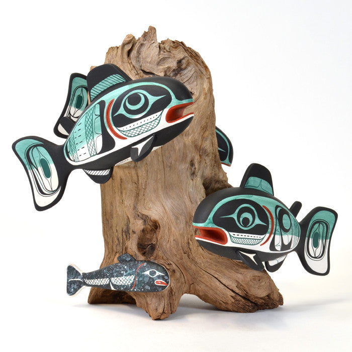 School of Salmon - Red Cedar and Reclaimed Driftwood