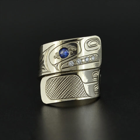 Eagle - 14k Ring with Diamonds and Tourmaline