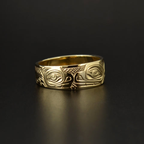 Bear Mother and Cub - 14k Gold Ring