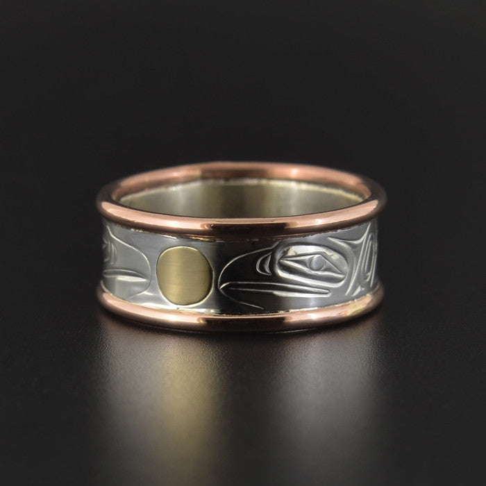 Ravens - Silver Ring with Copper Rails and 14k Gold