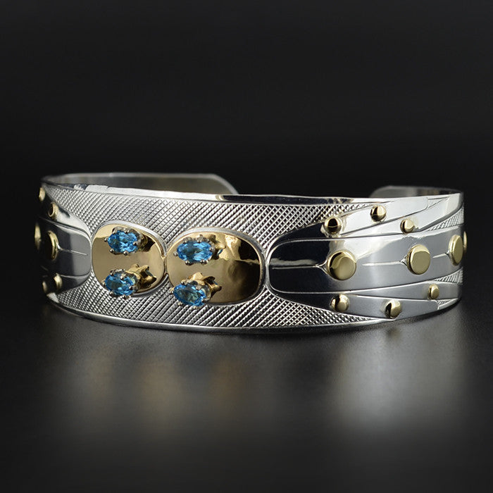 Dragonflies - Silver Bracelet with 14k Gold and Tourmalines