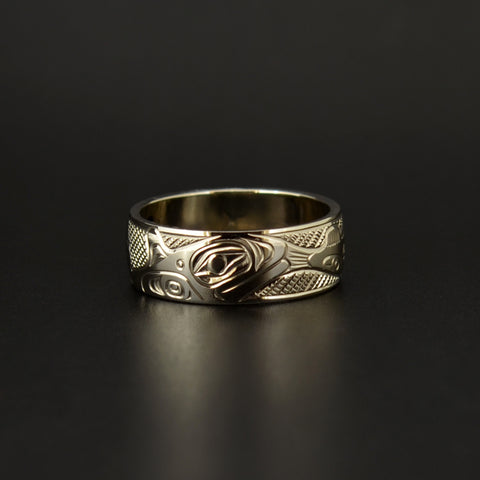 Orca and Salmon - 14k Gold Ring
