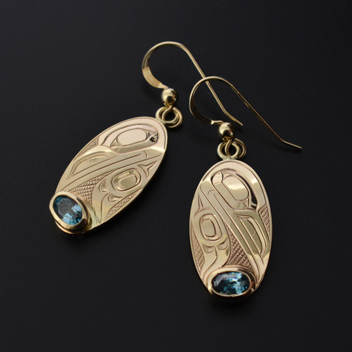 Ravens - 14k Gold Earrings with Blue Tourmaline