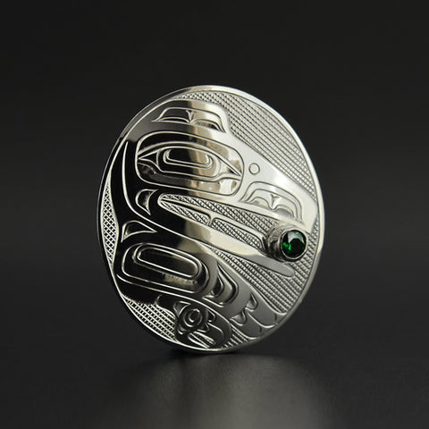 Raven and the Light - Silver Pendant with Emerald