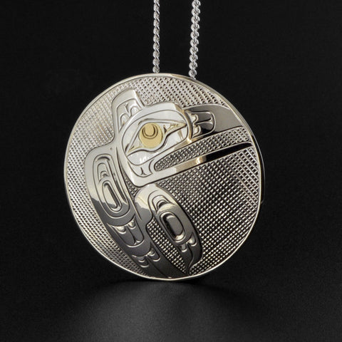 Raven - Silver Pendant with 14k Gold