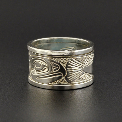 Salmon - Silver Spinner Ring