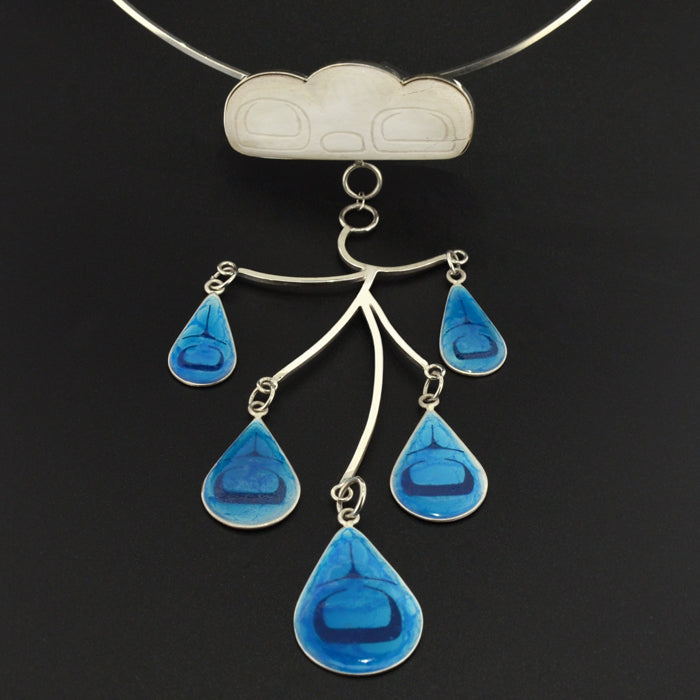 Westcoast Rain - Silver Necklace with Mastodon Ivory and Enamel