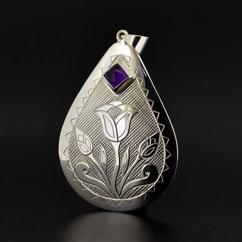 Floral - Silver Pendant with Amethyst