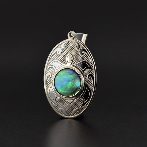 Turtle - Silver Pendant with Abalone