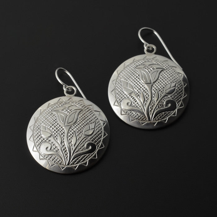 Floral - Silver Earrings