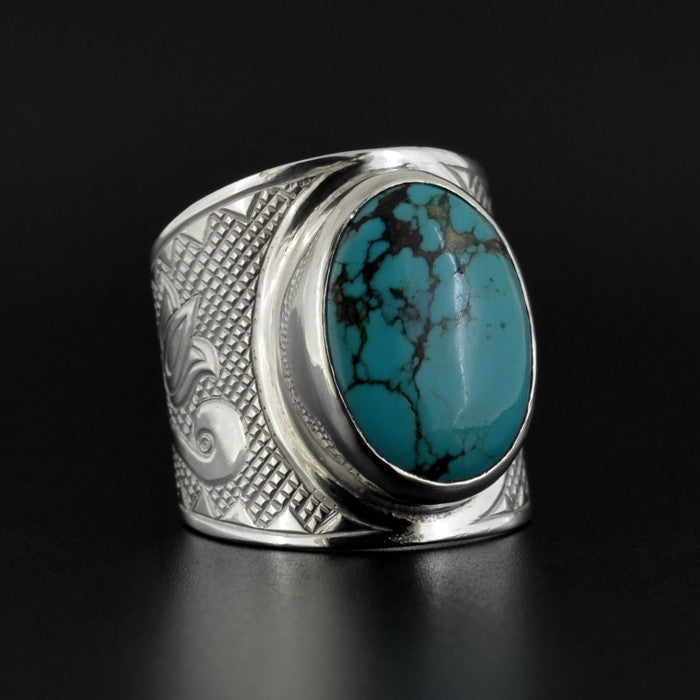 Floral - Silver Ring with Turquoise